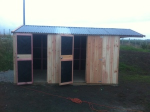 Two sets of double-doors with an overhang to keep the wood dry!