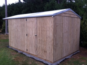 Garden Shed Central - rear view (no windows) storage shed with front gable extension.